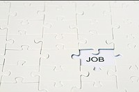 The word job in the area of a missing jigsaw puzzle part
