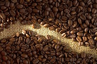 Coffee beans on a gruff cloth