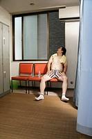 A man in locker room