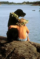 24X36 FOTO: Per Klaesson COPYRIGHT BILDHUSET Child With Dog Sitting By Lake