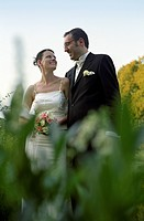 Bridal Couple smiling at each other happily _ Idyll _ Harmony _ Wedding