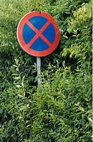 Förbjudet Att Stanna, Sign Board Amid Bushes,Low Angle View