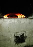 Eld I Spisen I Bagarstugan. Ostvik, Västerbotten 2002, Fire In Stove Over Wall