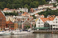 Part of the waterfront at Torgen and the houses above, Bergen, Norway, Scandinavia, Europe