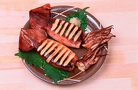 Two Cuttlefishes On Plate