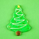 Christmas tree sugar cookie with decorative icing (thumbnail)