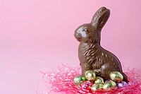 Chocolate Easter Bunny and Easter eggs