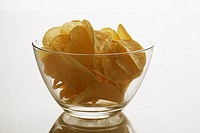 Studio shot of bowl of potato chips