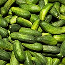 Pile of green cucumbers at produce market