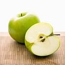 Still life of green apples.