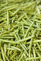 Pile of green beans at produce market