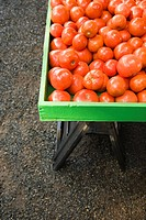 Pile of red tomatoes at produce market