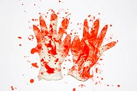 Pair of rubber gloves with blood splattered on them (thumbnail)