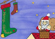 Santa Claus Going Down Chimney