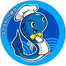 fish, eel, food, apron, business, logo, character