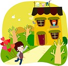 Road, couple, tree, house, courtship, lover (thumbnail)