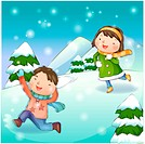 chasing, snow, couple, boy, girl, child