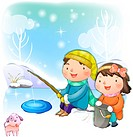 Boy, winter, girl, chirstmas, snow, child (thumbnail)