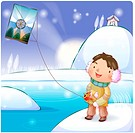 folk game, chirstmas, kite, smiling, outter, snow