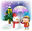 umbrella, snow, snowman, girl, chirstmas, winter