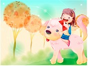 wink, fairy tale, riding, pet dog, dog, nature
