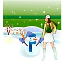 hat, snow, outdoors, seasons, snowman, natural