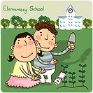 outdoors, elementaryschool, girl, boy, student, child