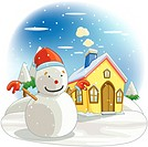 Chimney, tree, snow-covered, seasons, house, snowscape (thumbnail)