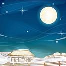 Village, season, snowing, snow, winter, fence, background (thumbnail)