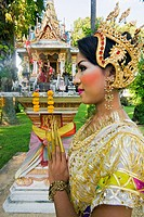 Girl in traditional Thai clothes, Phuket, Thailand, Southeast Asia, Asia