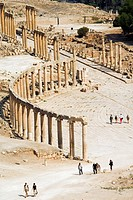 Oval Plaza, colonnade and Ionic columns, Jerash Gerasa, a Roman Decapolis city, Jordan, Middle East