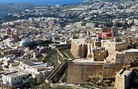 Aerial view of the Citadel, Victoria or Rabat, Gozo Island, Malta, Mediterranean, Europe