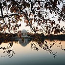 Jefferson Memorial reflected in water in Washington, D.C., USA