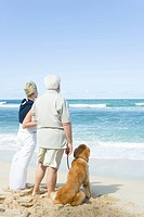 Senior couple standing on beach with Golden Retriever, man holding leash
