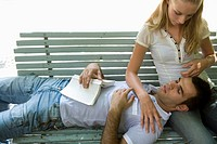 Caucasian couple relaxing on a bench, High Angle View
