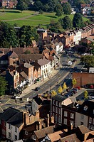 View of London Road A44 seen from the Cathedral at Worcester, Worcestershire, England, Great-Britain, Europe