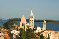 Rab town, view from bell the tower of St John the Evangelist church, Rab island, Croatia