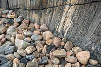 Elevated view of stoned and rock Klippor och stenar på västkusten i Bohuslän