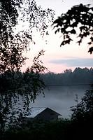Evening Mist In Hälsingland, Sweden 2007. Augustidimman Har Lagt Sig Över Ladan. Hälsingland 2007.,