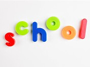 School' in magnetic letters close_up
