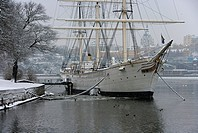 Vinter I Stockholm Med Af Chapman, Sweden, Stockholm, Tall Ship In River