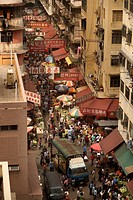 Marknad I Hongkong, High Angle View Of Food Market At Hong Kong