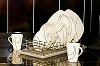 Dish rack on a kitchen counter