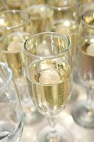 Glas med champagne, närbild. Glass Filled With Champagne, Close_Up