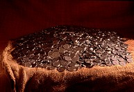 Hög Med Mynt, Close_Up Of Piled Coins