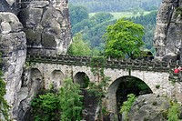 Germany, Saxony, Sandstone rocks, Saxony swiss  View to the sandstone rocks and the famous Bastei bridge