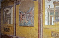 Ancient wall painting in house of family Vettii in excavations of Pompeji in Italy