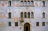 Frescoes on gothic Palazzo Geremia in city of Trient Italy