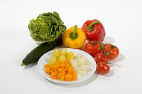 Raw and cooked vegetable