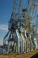 Old cranes at Hamburg Harbour Germany
